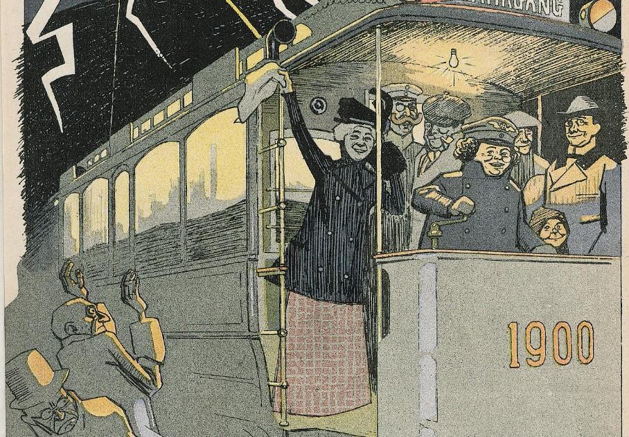 001_Lustige Blaetter_15_1900_Nr01_p1_Jahrhundertwende_Straßenbahn_Frauenarbeit