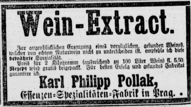 012_Berliner Tageblatt_1891_08_04_Nr175_p04_Wein_Kunstwein_Essenzen_Nahrungsmittelfälschung_Weinextrakt_Karl-Pollak_Prag