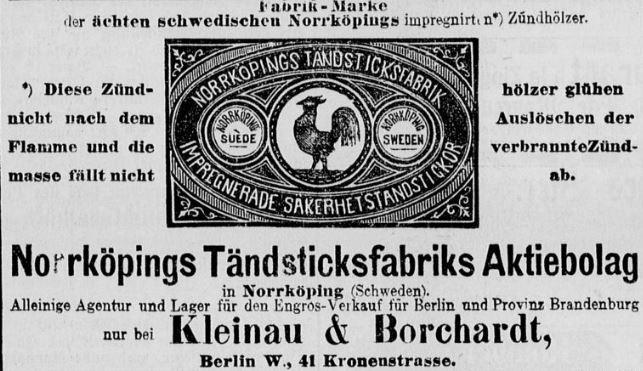 036_Deutsches Montags-Blatt_1877_10_29_p08_Streichhölzer_Norrköpings Tändsticksfabriks_Kleinau-Borchardt