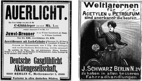 070_Vossische Zeitung_1897_10_01_Nr460_p17_Gaslicht_Auerlicht_Berliner Leben_05_1902_Nr05_sp_Fahrradartikel_Fahrradlampe_Acetylen