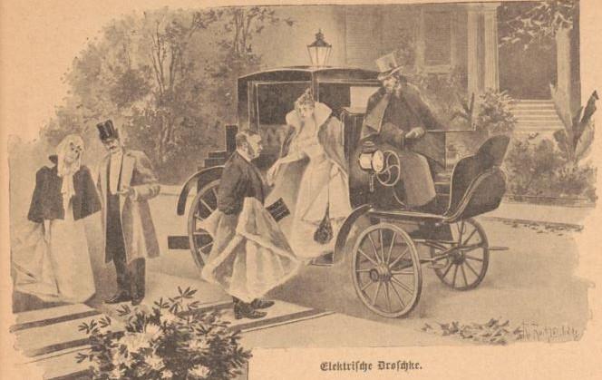 079_Der Bazar_043_1897_p041_Automobile_Droschke_Elektrofahrzeug_Repräsentation_Bürgertum