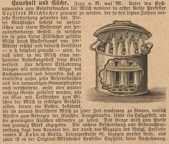 087_Der Bazar_37_1891_p140_Säuglingsernährung_Milch_Soxhlet-Apparat_Pasteurisierung