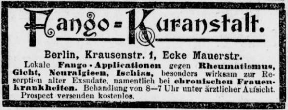 090_Berliner Tageblatt_1899_01_01_Nr001_p14_Heilmittel_Fango_Sanatorium_Rheuma_Gicht