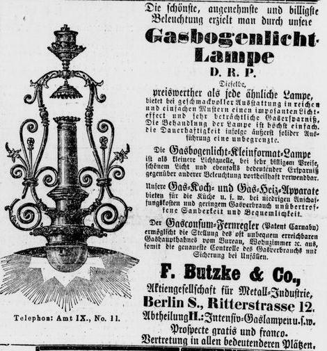 095_Vossische Zeitung_1891_04_15_Nr173_p17_Beleuchtungsartikel_Gasglühlicht_Gaslampe_Bogenlampe