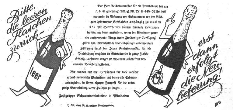 7_Deutsche Handels-Rundschau_34_1941_Nr13_Flaschen_Recycling_Kreislaufwirtschaft_Sekt_Glas