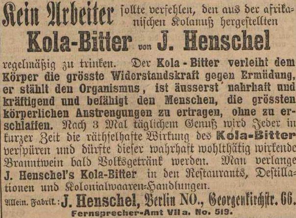 08_Berliner Volksblatt_1890_08_26_Nr197_p4_Kolapräparate_Kolabitter_J-Henschel_Volksgetränk