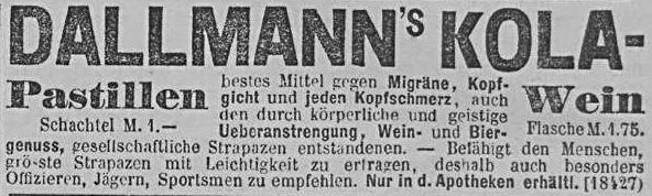 12_Allgemeine Zeitung_1891_05_31_Nr149_p4_Kolapräparate_Kolawein_Kola-Pastillen_Dallmann