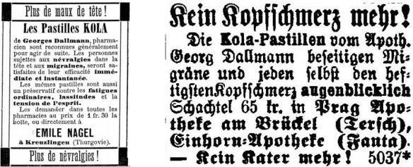 13_La Suisse Liberale_1889_06_08_Nr133_p4_Heilmittel_Kola-Pastillen_Dallmann_Prager Tagblatt_1889_10_23_Nr293_p20_Kopfschmerzen