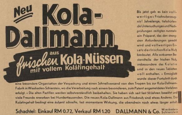 41_Deutsche Apotheker-Zeitung_49_1934_Nr29_pIII_Kola-Dallmann_Kolanuss_Frische_Produktinnovation
