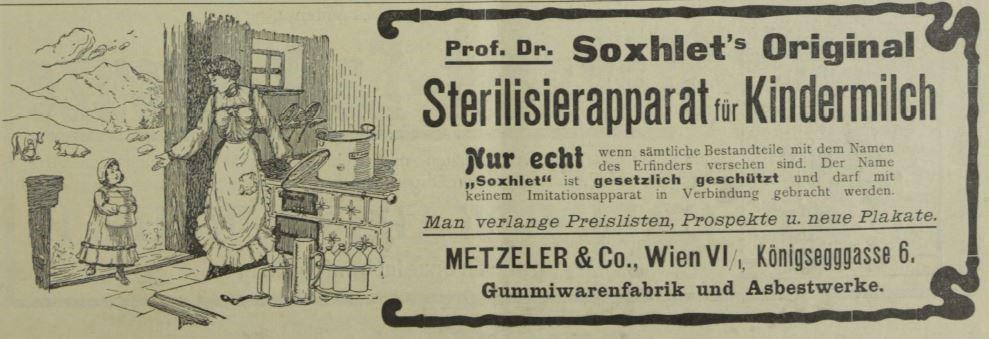 12_Drogisten-Zeitung_24_1909_Nr45_p01_Saeuglingsernaehrung_Soxhlet-Apparat_Konservierungsgeraet_Alpenmilch