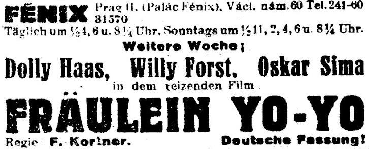 25_Prager Tagblatt_1933_03_10_Nr059_p10_Kinofilm_Fraeulein-Yo-Yo_Fritz-Kortner_Willy-Forst_Dolly-Haas