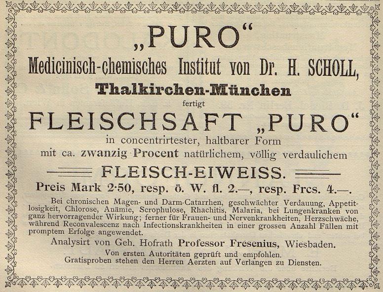05_Die Heilkunde_01_1896-97_p566_Kraeftigungsmittel_Fleischsaft-Puro
