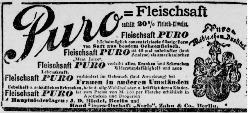 07_Berliner Tageblatt_1897_01_28_Nr49_p08_Kraeftigungsmittel_Fleischsaft-Puro