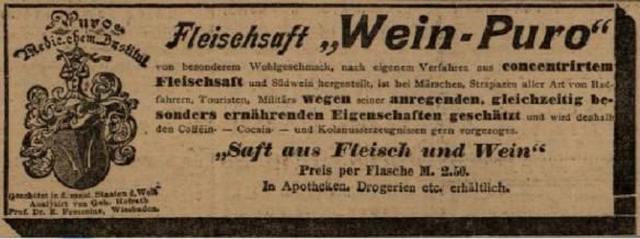 08_Badische Landes-Zeitung_1897_01_17_Nr14_BlI_p4_Kraeftigungsmittel_Medizinalwein_Wein-Puro_Fleischsaft