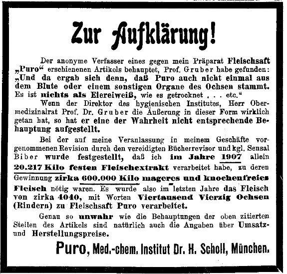 19_Wiener Medizinische Wochenschrift_58_1908_Sp834_Lebensmittelskandal_Fleischsaft-Puro