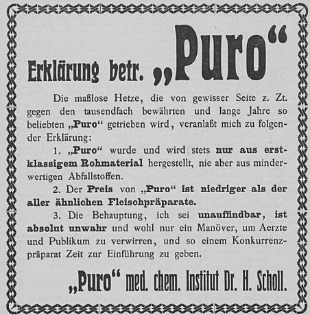 21_Allgemeine Zeitung_1908_05_30_Nr103_pVI_Lebensmittelskandal_Fleischsaft-Puro_Hermann-Scholl