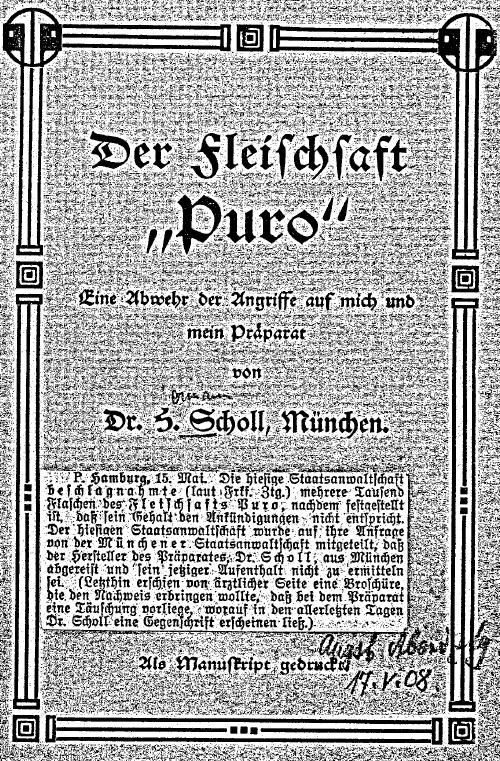 22_Scholl_1908_pI_Lebensmittelskandal_Fleischsaft-Puro_Lebensmitteldesign