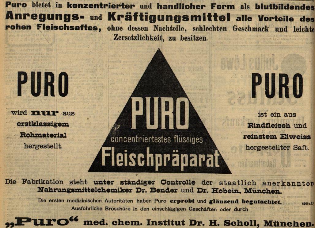 24_Badische Presse_1908_08_01_Nr352_p6_Lebensmittelskandal_Kraeftigungsmittel_Fleischsaft-Puro_Fleischpraeparate