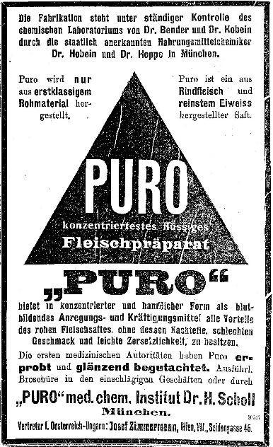 25_Neue Freie Presse_1908_10_07_Nr15841_p37_Lebensmittelskandal_Fleischpraeparate_Fleischsaft-Puro