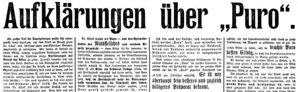 27_Leipziger Tageblatt_1910_03_08_Nr66_p4_Lebensmittelskandal_Fleischsaft-Puro