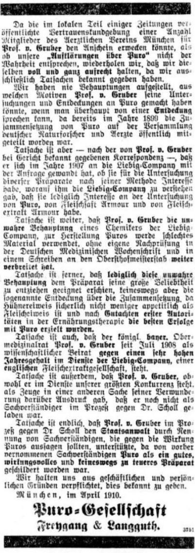 28_Leipziger Tageblatt und Handelszeitung_1910_04_03_Nr091_p8_Lebensmittelskandal_Fleischsaft-Puro_Max-von-Gruber_Liebig-Compagnie