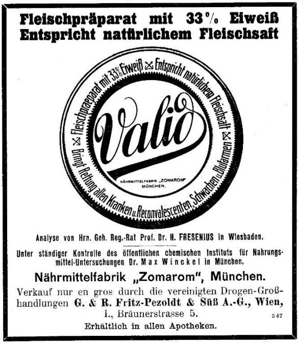 33_Wiener Medizinische Wochenschrift_60_1910_Sp2575_Fleischpraeparat_Valid_Zomarom_Muenchen