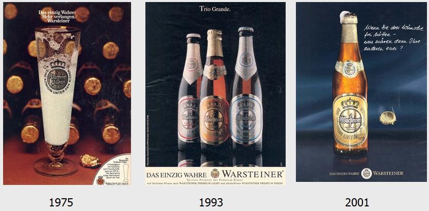 21_Der Spiegel_29_1975_Nr20_p187_Bier_1993_p09_Der Spiegel_54_2001_Nr51_p092_Bier_Werbung_Warsteiner_Bierflasche_Produktorientierung