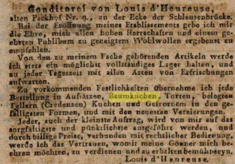 05_Berlinische Nachrichten_1820_03_16_Nr033_p16_Konditorei_Berlin_Baumkuchen_Louis-d'Heureuse
