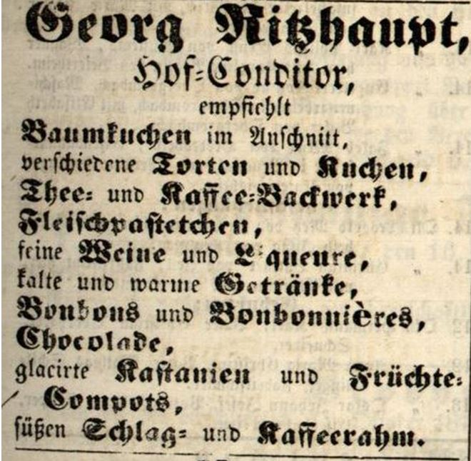 06_Karlsruher Tagblatt_1871_10_15_Nr281_p1931_Konditor_Karlsruhe_Baumkuchen_Ritzhaupt
