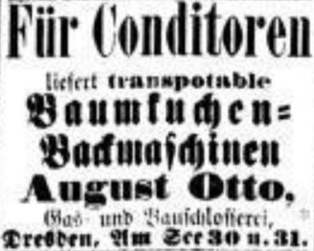 07_Dresdner Nachrichten_1881_12_03_Nr337_p5_Maschinenbau_Baumkuchen_Backofen_Otto_Dresden