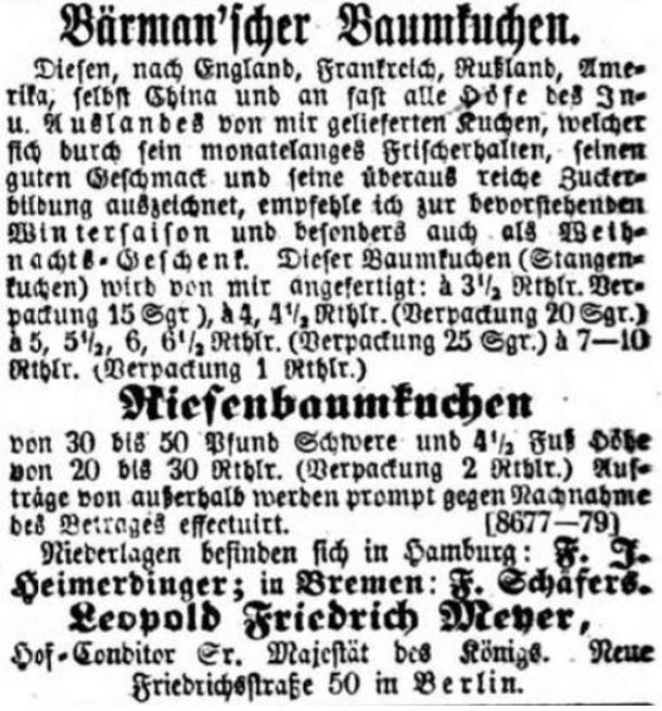 08_Allgemeine Zeitung_1860_12_29_Nr364_p6036_Versandgeschäft_Baumkuchen_Weihnachten_Bärmann_Berlin