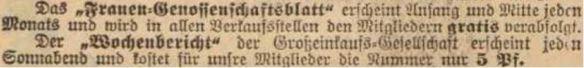 09_Vorwärts_1902_10_01_Nr229_p7_Konsumgenossenschaften_Berlin_Frauengenossenschaftsblatt_Wochenbericht_GEG