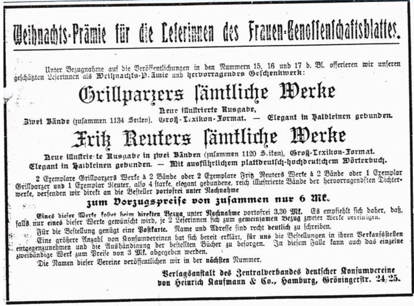 11_Frauen-Genossenschaftsblatt_05_1906_p167_Bücher_Weihnachtspraemie_Grillparzer_Fritz-Reuter
