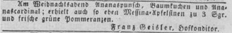 13_Düsseldorfer Zeitung_1834_12_23_Nr305_p4_Konditor_Weihnachten_Baumkuchen_Ananas_Apfelsinen