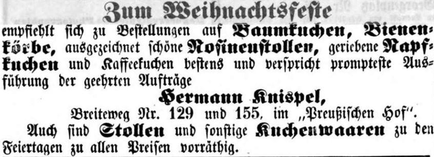 14_Magdeburgische Zeitung_1854_12_21_Nr299_p12_Konditor_Weihnachten_Baumkuchen_Stollen_Hermann-Knispel