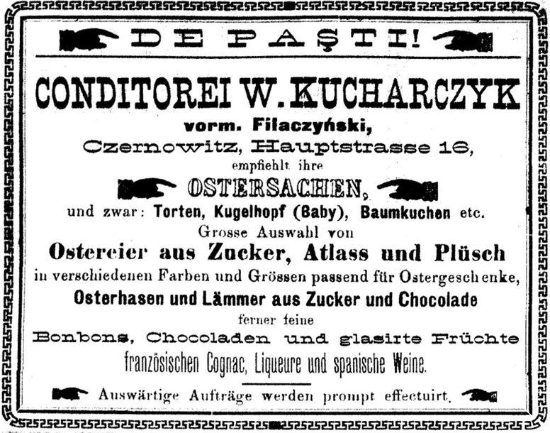 15_Bukowinaer Post_1894_04_08_Nr060_p8_Konditor_Ostern_Ostereier_Baumkuchen_Czernowitz