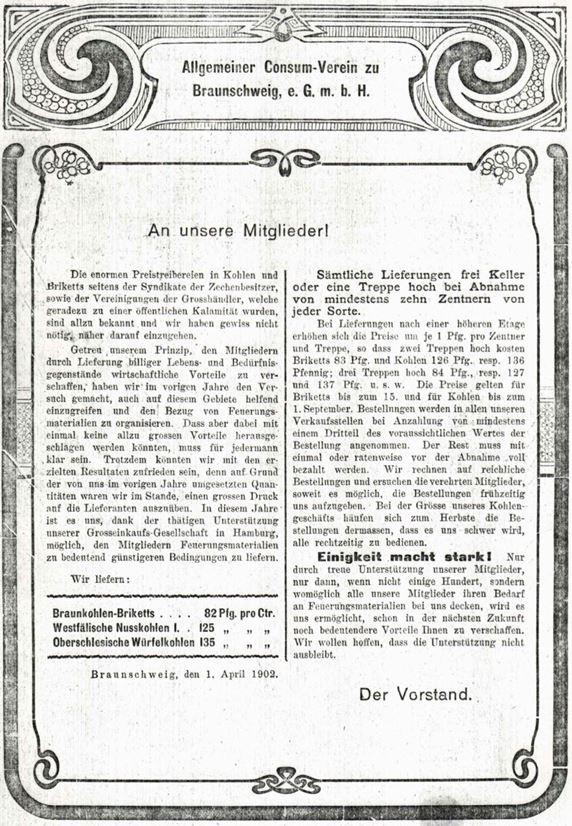 16_Frauen-Genossenschaftsblatt_01_1902_p016_Konsumgenossenschaften_Braunschweiz_Heizmaterial_Kohle_Briketts
