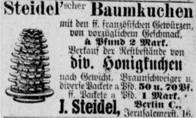 18_Berliner Tageblatt_1888_01_08_Nr014_p11_Konditor_Baumkuchen_Steidel