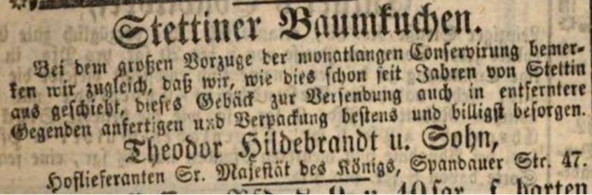 19_Königlich privilegirte Berlinische Zeitung_1848_02_07_Nr031_p19_Baumkuchen_Theodor-Hildebrand_Stettin_Berlin
