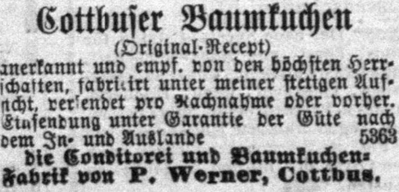 20_Berliner Wespen_13_1880_p22_Versandgeschäft_Konditor_Baumkuchen_Cottbus_Werner