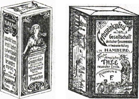 22_Frauen-Genossenschaftsblatt_02_1903_p006_Ebd_p38_GEG_Verpackung_Kakao_Tee_Konsumgenossenschaften_Handelsmarken