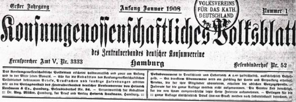 27_Konsumgenossenschaftliches Volksblatt_01_1908_p001_Impressum_Konsumgenossenschaften