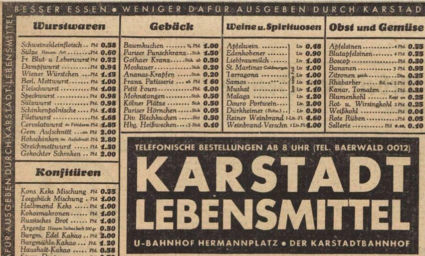 30_Vorwärts_1930_03_28_Nr147_p16_Warenhaus_Karstadt_Lebensmittel_Baumkuchen