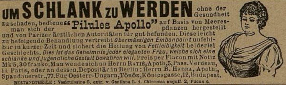 05_Der Bazar_50_1904_p032_Schlankheitspraeparate_Geheimmittel_Pilules-Apollo