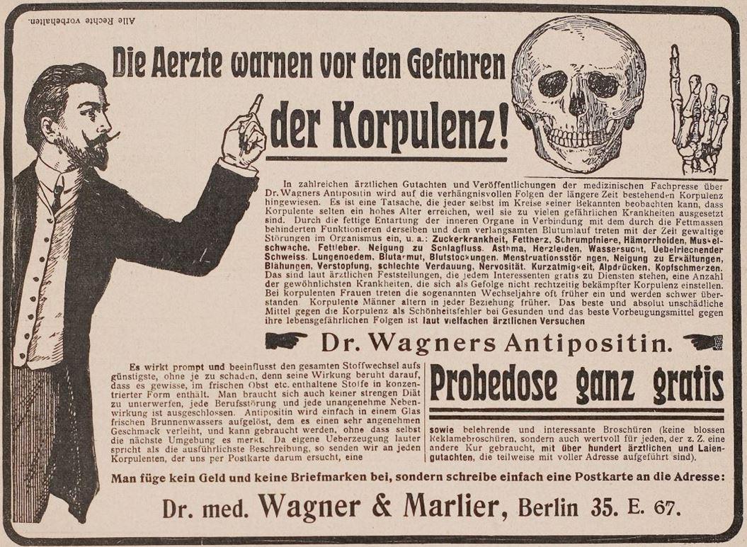 06_Jugend_11_1906_p203_Schlankheitspraeparate_Antipositin_Wagner-Marlier_Totenschaedel_Geheimmittel_Korpulenz