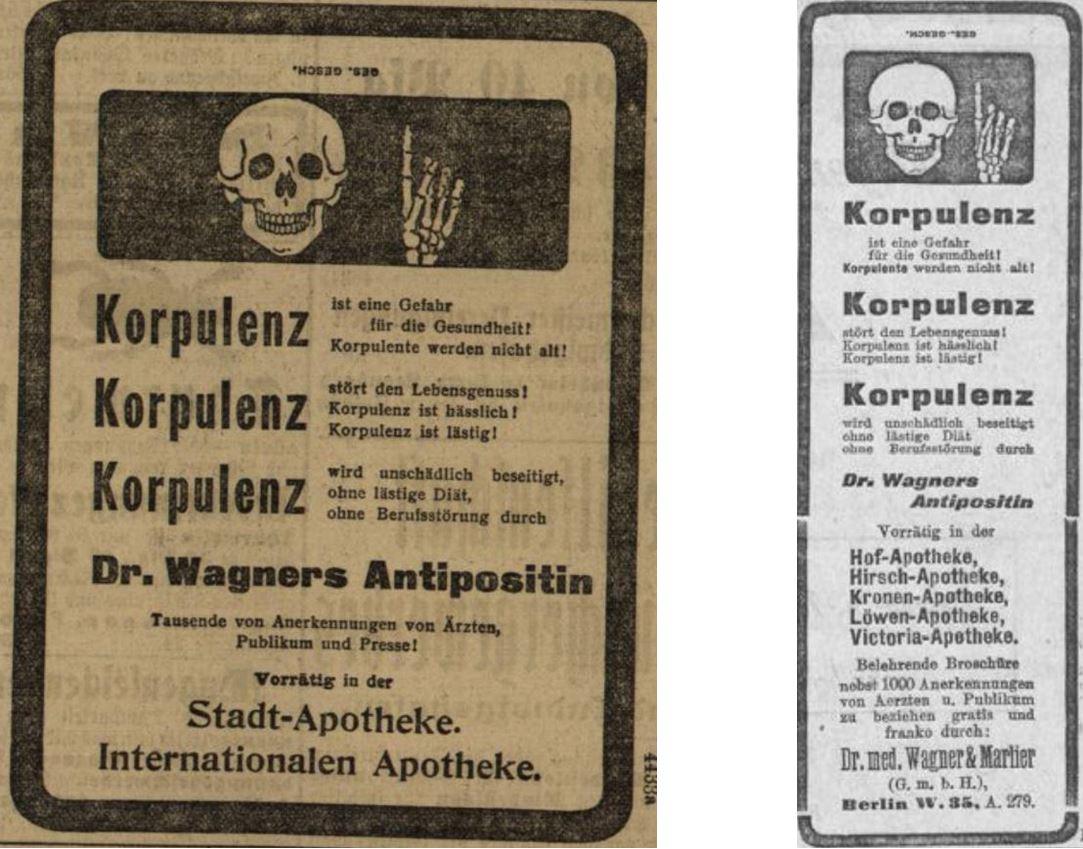 12_Badische Presse_1906_06_02_Nr255_p6_Wiesbadener Tagblatt_1906_07_10_Nr314_p26_Schlankheitspraeparate_Antipositin_Wagner-Marlier_Totenschaedel_Geheimmittel_Korpulenz