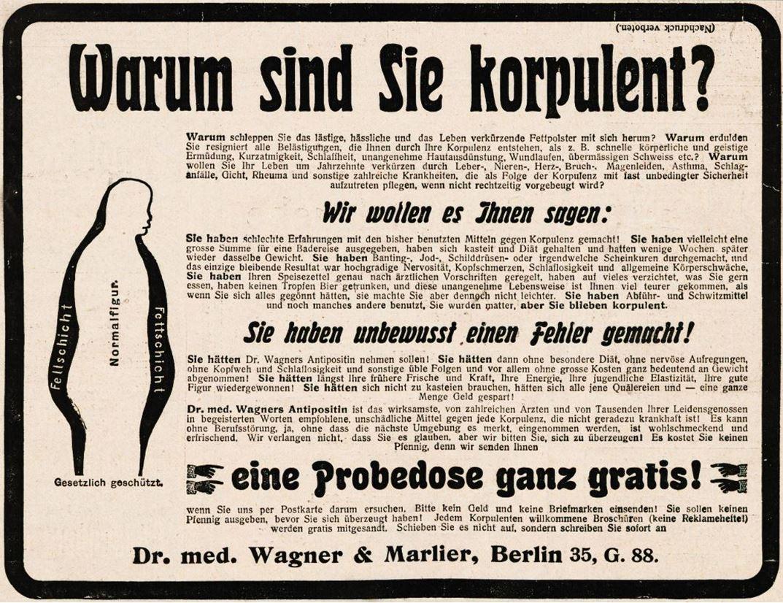 14_Jugend_11_1906_p863_Schlankheitspraeparate_Antipositin_Wagner-Marlier_Geheimmittel_Korpulenz