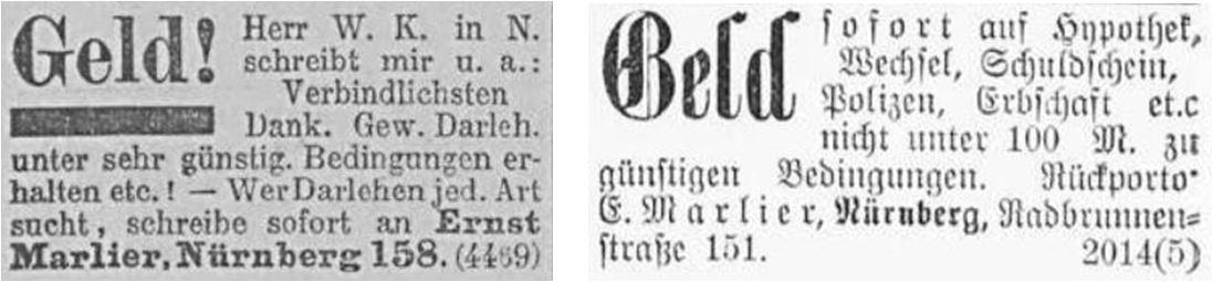 19_Allgemeine Zeitung_1902_10_12_Nr281_p16_Wendelstein_1901_08_04_Nr176_p4_Wirtschaftskriminalitaet_Darlehen_Ernst-Marlier_Nuernberg