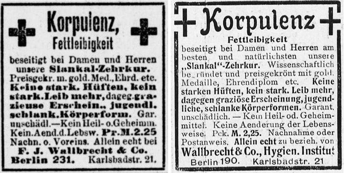 21_Berliner Tageblatt_1904_12_05_Nr240_p08_Berliner Leben_04_1904_np196_Schlankheitspraeparate_Slankal_Geheimmittel_Wallbrecht_Korpulenz