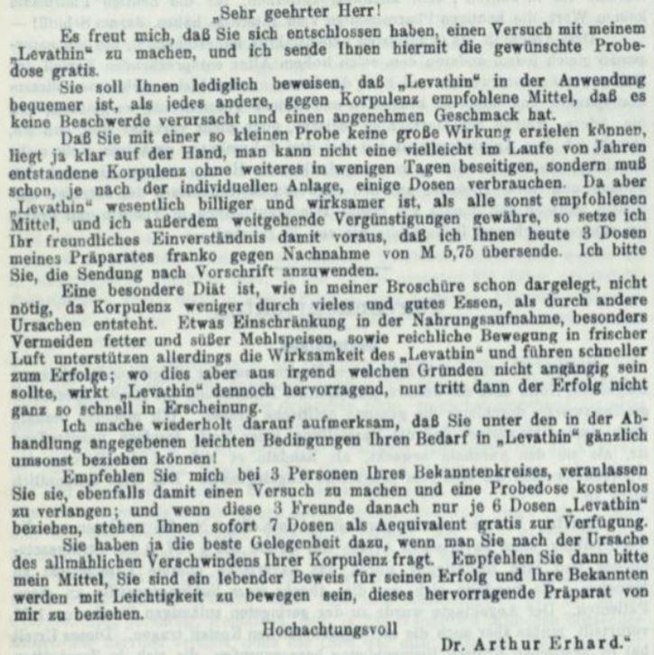 23_Apotheker-Zeitung_22_1907_p888_Schlankheitspraeparate_Arthur-Erhard_Geheimmittel_Werbeschreiben_Levathin